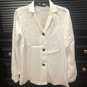 Silk White Zara Blouse With Button Details
